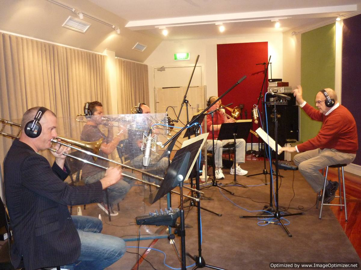 Dan Barnett, Anthony Kable, Jeremy Borthwick, Roy Ferrin - Pippa Hayes recording session James Morrison studios